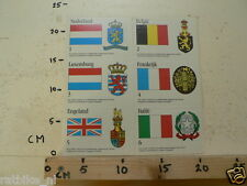 STICKER,DECAL SHEET FLAGS NEDERLAND,BELGIE,LUXEMBURG,FRANKRIJK,UK,ITALIE