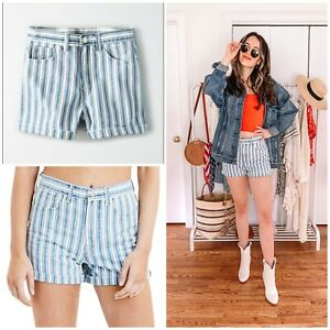 American Eagle Womens Size 4 Mom Short High Rise Blue Striped Shorts NWT NEW