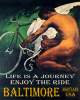 POSTER BALTIMORE MD ENJOY BIKE RIDE BICYCLE WINGS CYCLING VINTAGE REPRO FREE S/H