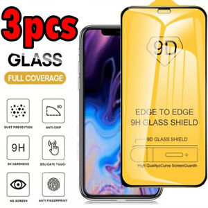 3pcs Tempered Glass FULL COVER Screen Protector iPhone 13 12 11 Pro Max XS XR