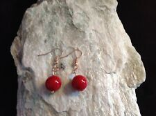 Red Shell Pearl 10mm rounds with Rose Gold Plated Hook Earrings