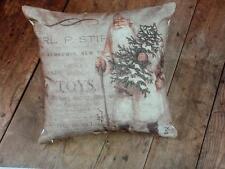 NWT Ragon White Santa Victorian Toy Newsprint Advertising CHRISTMAS THROW PILLOW