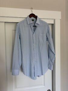 Sid Mashburn Blue Green Cotton Striped Shirt Size 16.5 35 Spread Collar $165