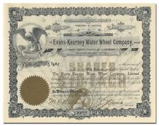 Evans-Kearney Water Wheel Company Stock Certificate (Arizona)