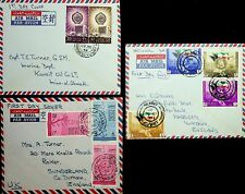 KUWAIT 1962 3 FDC WITH COMPLETE SET ON AIRMAIL COVERS TO UK