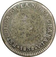 1838 RS, Columbia, 1 Real - Republic of New Granada KM#91.1 Bogota Mint SCARCE