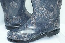 New Valentino Rain Boots Rubber Shoes Size 41 Floral Lace Gray