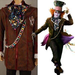Johnny Depp Alice In Wonderland Mad Hatter Cosplay Costume Jacket Full Set
