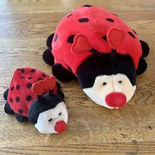 "VTG 11"" & 6"" Plush Stuffed Animal Ladybug Love Big Beanie Russ Lot Set Adorable!"