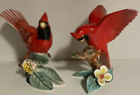 Pair of VINTAGE LEFTON CHINA SHINY CARDINALS WITH HEAD DOWN  VERY PRETTY