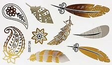 Tattoo Gold Silber Schwarz Einmal Klebe Flash Temporary 9teile Armband WOW 3032