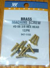 """Walthers #947-1155 (12 in pkg) 2-56 Brass Hex Head Machine Screws -- 3/8 x .086"""""""