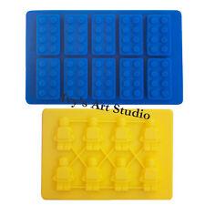Lego-like Brick&Minifigure Man Ice Cube Tray Chocolate Cake Silicone Moulds Mold