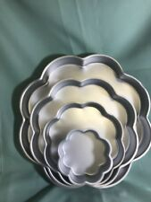"Four Wilton Petal Shaped Wedding Cake Pan Set  6"" 9""12""14"" X2"" Deep"