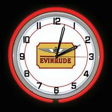 "19"" Evinrude Boat Motors Red Double Neon Clock Man Cave Garage Store Shop"