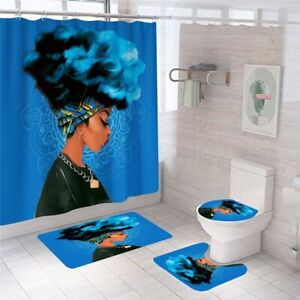 African woman bathroom carpet set shower curtain non-slip toilet lid cover