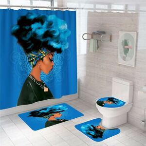 African Woman Bathroom Rug Set Shower Curtain Non-Slip Toilet Lid Cover Bath Mat