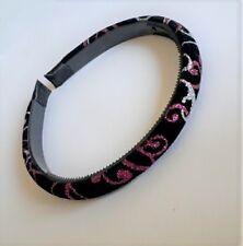 Serre-tête fin 1,3cm tissu velours noir déco boucles paillettes rose ST0136B