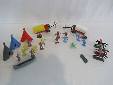 28pc Vintage Plastic Cowboy Indian Play Set Horses Teepees Marx Apache (YN107)