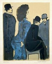David Schneuer: The Blue Dress/Israeli German Expressionism Nightlife Silkscreen