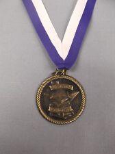 """gold outstanding student medal 2"""" diameter blue/white neck drape award trophy"""
