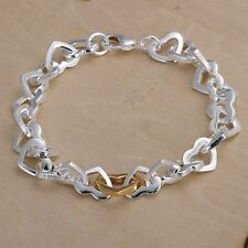 Wholesale 925Sterling Solid Silver Jewelry Gold Heart Link Bracelet For Women