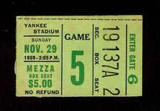 1959 NEW YORK GIANTS vs WASHINGTON REDSKINS  Ticket Stub