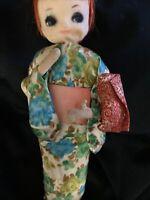 Vtg Bradley Doll Japanese Mod Big Eye Cloth 1960s Japan Redhead Kimono Poseable