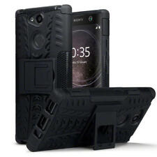 Shockproof Rugged Tough Armour Hard Case With Stand in Black for Sony Xperia Xa2