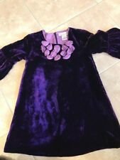 Halabaloo Purple Velvet Flower Dress Girls 5 Euc
