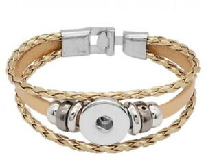 Gold Real Leather 18mm 20mm Snap Button Charm Bracelet For Ginger Snaps