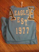 American Eagle Outfitter hoodie sweatshirt Women's size L aqua bright blue color