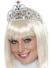 Corona Plastica Argento Principessa Regina Coroncina Donna Reale Carnevale NUOVO