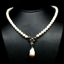 """NATURAL SKY BLUE TOPAZ & 9-7mm. CREAMY WHITE PEARL NECKLACE 20"""" 925 SILVER"""