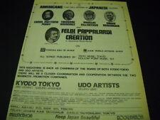 FELIX PAPPALARDI created CREATION Japan Rock Group 1976 PROMO POSTER AD