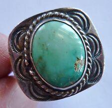 Ring Green Turquoise Fred Harvey Era Vintage  Size 9 1/2