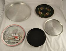 Lot Of 5 Metal Tin Serving Dishes Plates Trays Silver Painted Asian Etched