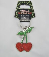 CHERRY HEART ENAMEL KEY CHAIN   METAL FLIRT CHERRIES  NEW K0013