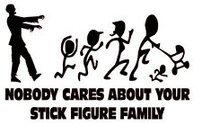 Zombie nobody cares run stick figure family decal vinyl funny window sticker