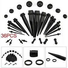 New 36 Black Taper Stretcher Ear Plugs Expander Gauges Acrylic Stretching Kits