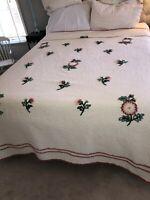 Vintage RETRAC 1950's Cotton Chenille Bedspread,  Pink & Rose Color Flowers