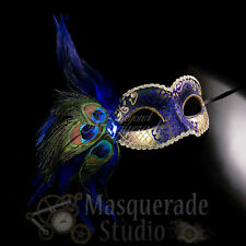 Women's Peacock Feathered Venetian Mardi Gras Masquerade Mask [Blue/Gold]