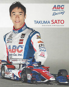 "2015 INDY 500 TAKUMA SATO JAPAN AJ FOYT RACING INDYCAR 8""X10"" HERO CARD !"