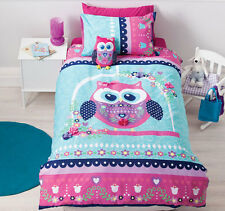 Pretty Owl Girls Applique Pink Aqua Reversible SINGLE Size Quilt Doona Cover Set