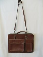 Fatta Fabbrica Italian Leather Satchel Briefcase Brown  #1672