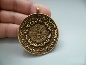 Old Collectible China Copper Carved Tibet Totem Rare Lucky Amulet Pendant