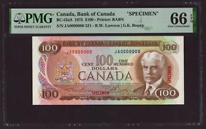 Canada 🇨🇦 1975 - $100 Dollars ***SPECIMEN*** Lawson Bouey - PMG Gem UNC 66 EPQ