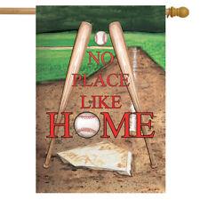"No Place Like Home Spring House Flag 28"" x 40"" Baseball Bats Briarwood Lane"