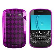 Flexible TPU Gel Case for Blackberry Bold 9900/9930 - Purple Argyle