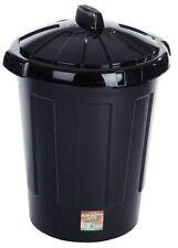 80 L plastica nera Cestino dei rifiuti cestino spazzatura polvere usa e getta può con coperchio